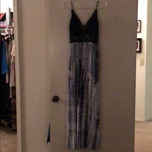 Crochet top tie dye maxi dress